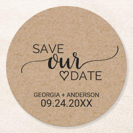 Rustic Faux Kraft Modern Calligraphy Save Our Date Round Paper Coaster