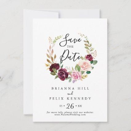 Rustic Floral and Botanical Foliage Wedding Save The Date