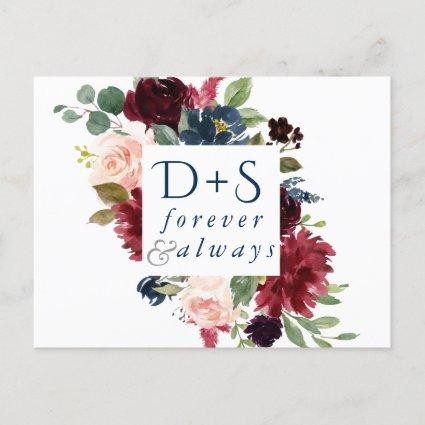 Rustic Floral | Blue Red Monogram Save the Date Announcement