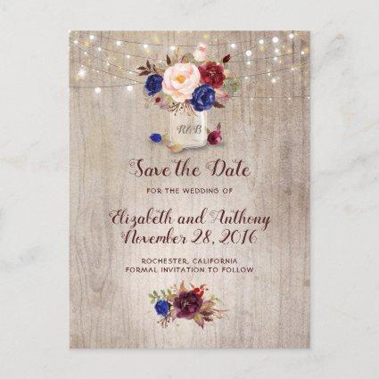 Rustic Floral Burgundy Navy Blue Save the Date Announcement