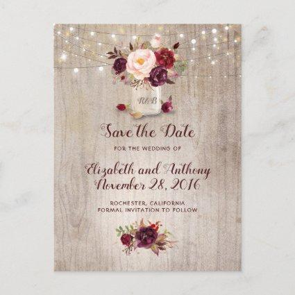 Rustic Floral Burgundy Save the Date Announcements Cards