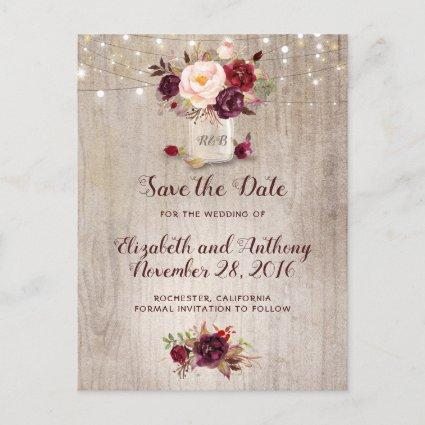 Rustic Floral Burgundy Save the Date Announcement