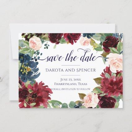 Rustic Floral | Chic Navy Burgundy Blush Wreath Save The Date