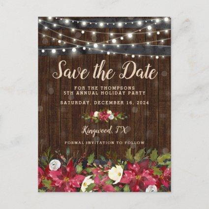 Rustic Floral Christmas Party Save the Date Announcements Cards