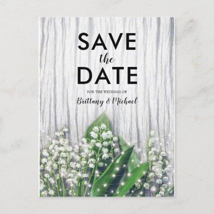 Rustic Floral - Lily of the Valley Save the Date Announcement
