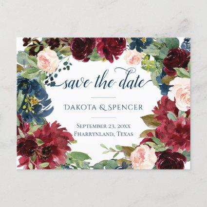 Rustic Floral | Navy Blue Burgundy Save the Date Announcement