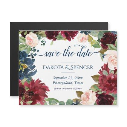 Rustic Floral | Navy Blue Burgundy Save the Date Magnetic Invitation