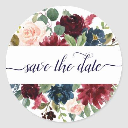 Rustic Floral | Navy Burgundy Frame Save the Date Classic Round Sticker