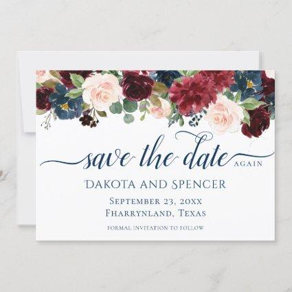 Rustic Floral | Navy Burgundy Marsala Again Re - Save The Date
