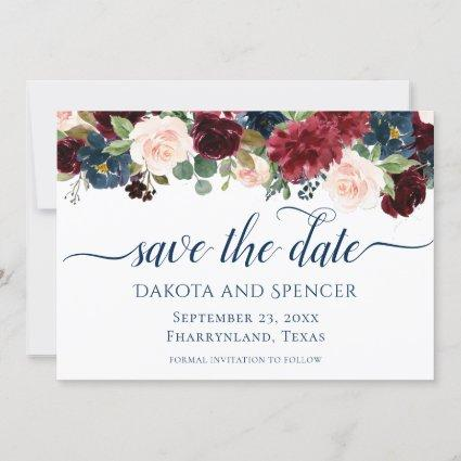 Rustic Floral | Navy Burgundy Marsala Garland Save The Date