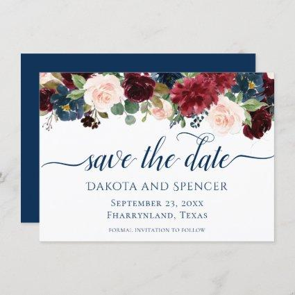 Rustic Floral   Navy Burgundy Marsala Garland Save The Date