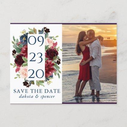 Rustic Floral | Navy Burgundy Wreath Save our Date Announcement