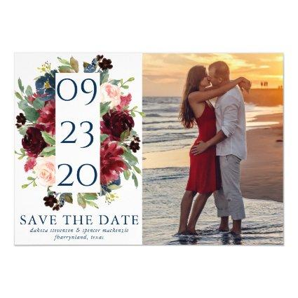 Rustic Floral | Navy Burgundy Wreath Save our Date Magnetic Invitation