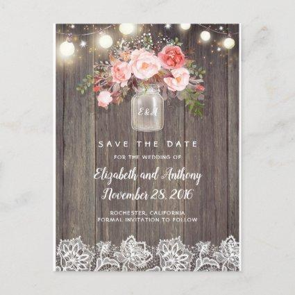 Rustic Floral Pink Save the Date Announcement
