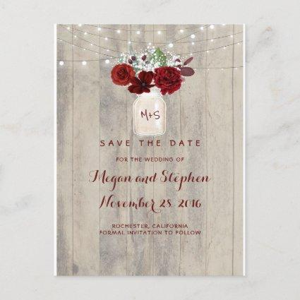 Rustic Floral Save the Date Announcement