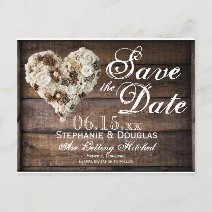 Rustic Flower Wood Heart Wedding Save the Date Announcement