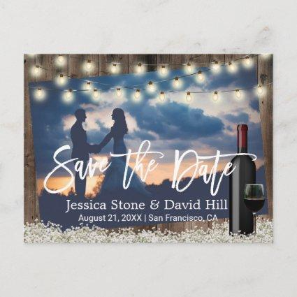 Rustic Flowers Wine Wedding Photo Save the Date Announcement