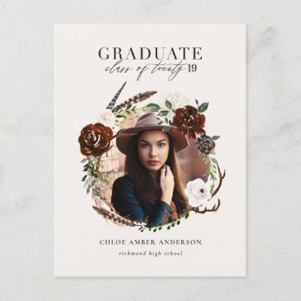 Rustic foliage and antler photo graduation announcement
