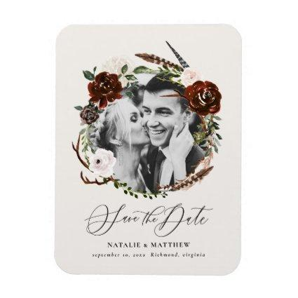Rustic foliage and antler photo save the date magnet