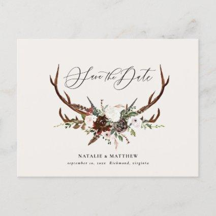 Rustic foliage and antler save the date announcement