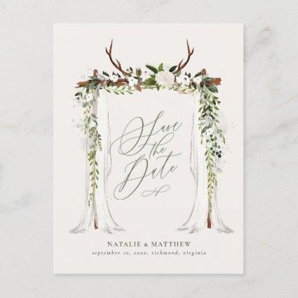Rustic foliage canopy wedding save the date announcement