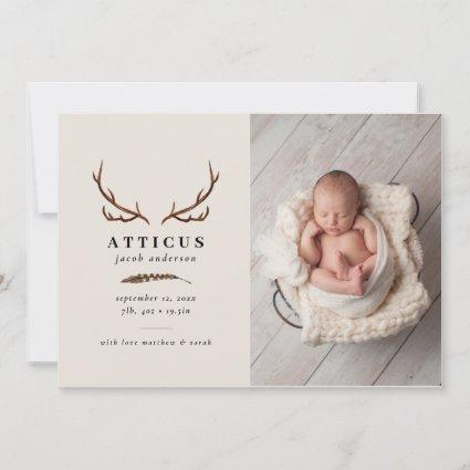 Rustic foliage, floral and stag birth announcement