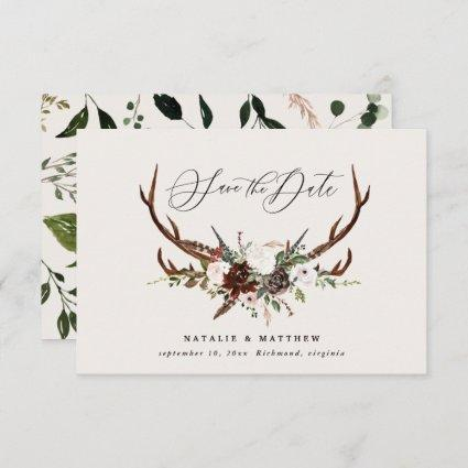 Rustic foliage floral and stag script chic wedding save the date