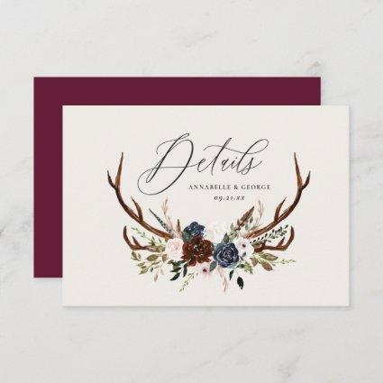 Rustic foliage, floral and stag wedding details save the date