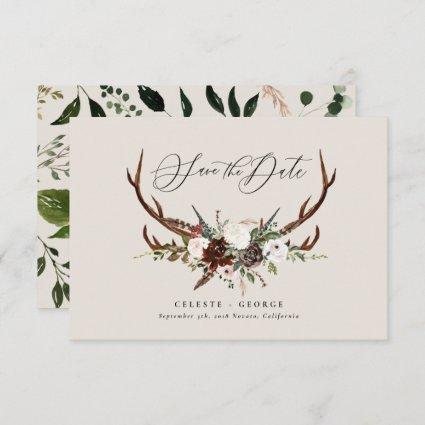 Rustic foliage, floral and stag wedding save the date