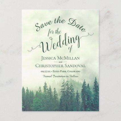 Rustic Forest Green Pines Wedding Save the Date Announcement