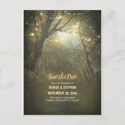 Rustic Forest Light Strings Save The Date Announcement