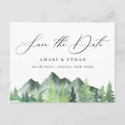 Rustic Forest Mountain Wedding Save the Date Announcement