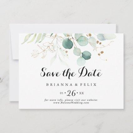 Rustic Gold Floral Calligraphy Horizontal Wedding Save The Date