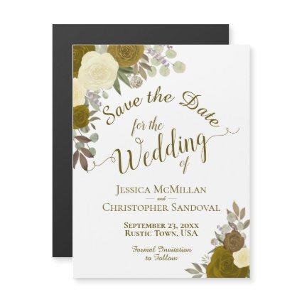 Rustic Gold Floral Wedding Save the Date Magnetic Invitation