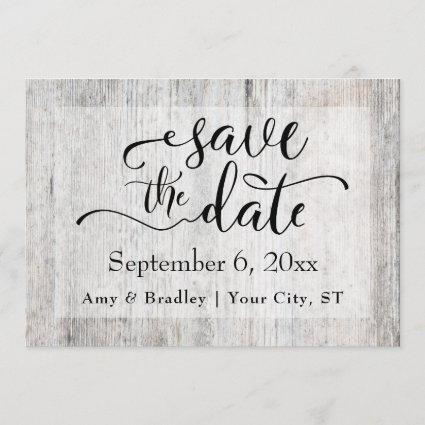 Rustic Gray Weathered Wood Wedding Save the Date