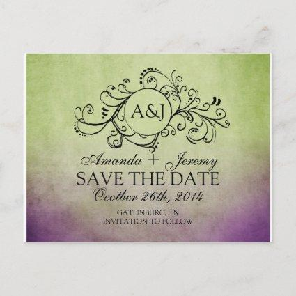 Rustic Green and Purple Bohemian Save The Date Announcement