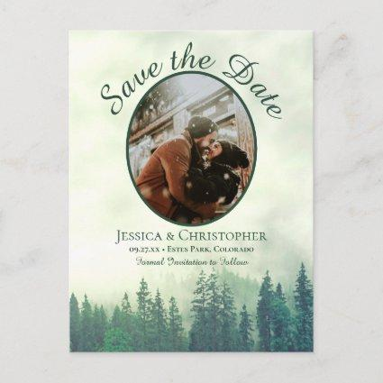 Rustic Green Pine Wedding Save the Date Oval Photo Announcement