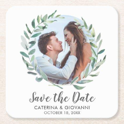 Rustic Green Watercolor Wreath Photo Save the Date Square Paper Coaster