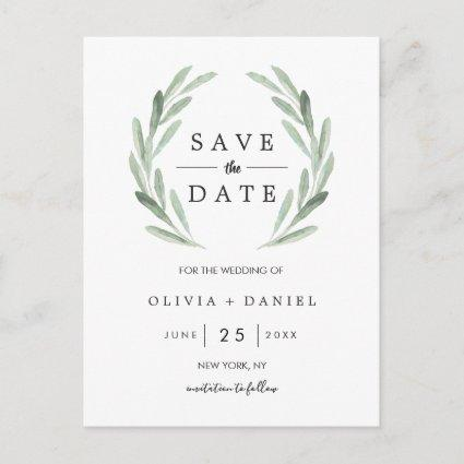 Rustic Green Wreath Simple Wedding Save the Date Announcement