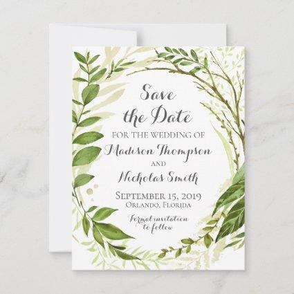 Rustic Green Wreath Wedding Save The Date Card