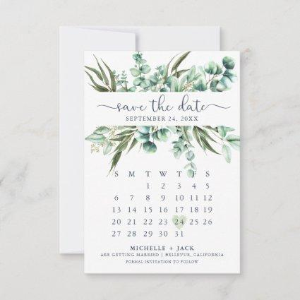 Rustic Greenery Eucalyptus Modern Calendar Save The Date
