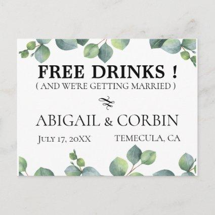 Rustic Greenery FREE DRINKS Save the Date Announcement