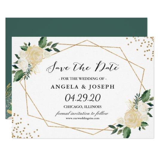 Rustic Greenery Gold Glitters Floral Save the Date Card