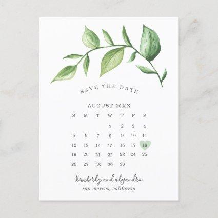Rustic Greenery Sprig Calendar Save the Date Announcement