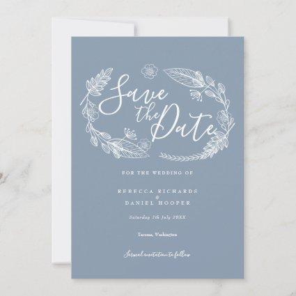 Rustic Hand-drawn Floral Garland Script Save The Date