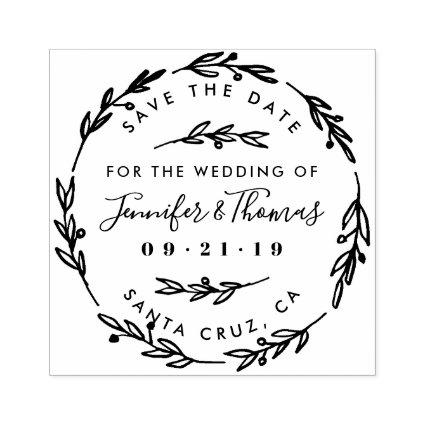 Rustic Hand Drawn Wreath Save The Date Rubber Stamp
