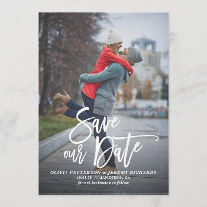 Rustic Hand Lettering Photo Save Our Date II Save The Date
