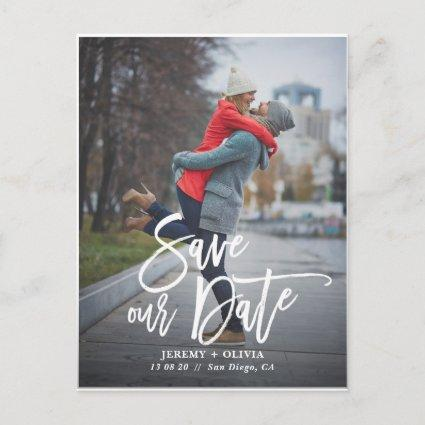 Rustic Hand Lettering Photo Save Our Date