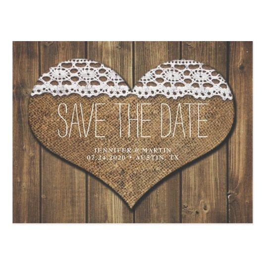 Rustic Heart Save The Date Cards