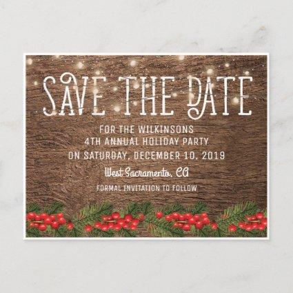 Rustic Holiday Christmas Party Save the Date Announcements Cards